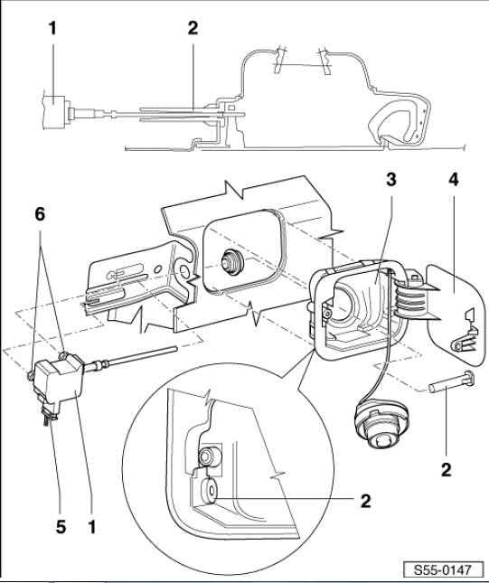 схема снятия лючка бензобака на шкоде октавия а5