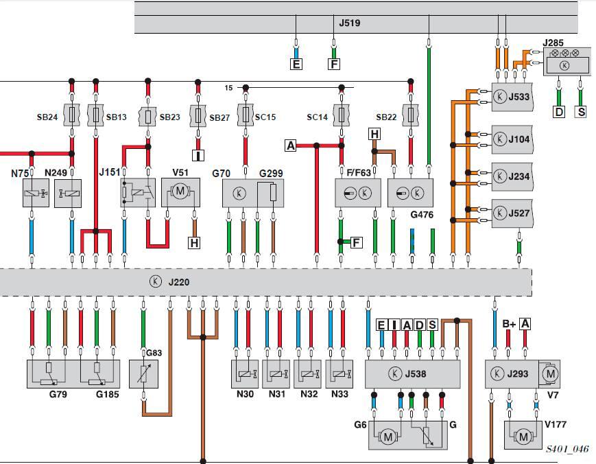 эл.схема для движка шкоды октавия а5 - 1,8 л TFSI