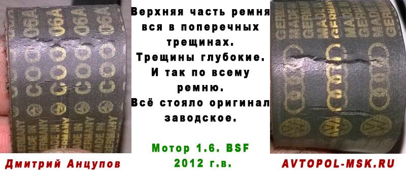 трещины на ремне грм у шкоды 1.6. 12-го года фото